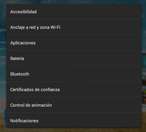 Lista accesos directos ajustes Android