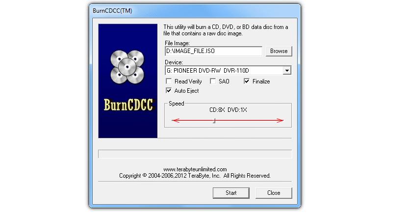 BurnCDCC para grabar imagen ISO en DVD