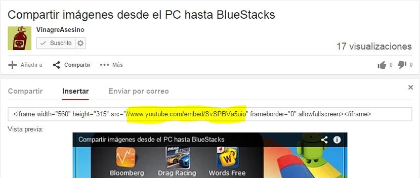 codigo de insersión de video de youtube