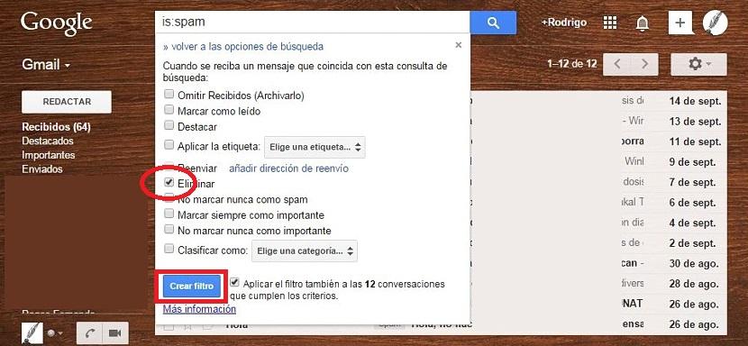 eliminar spam de gmail automaticamente 03