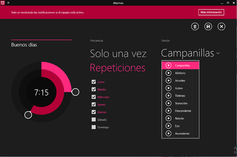 alarma de Windows 10
