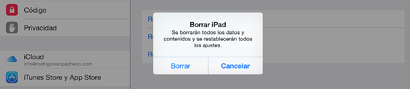 Borrar todos los datos del iPad