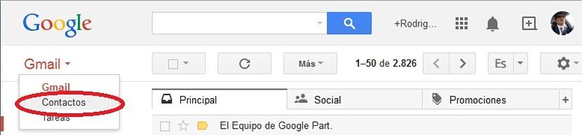 Contactos en Gmail