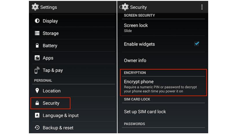 cifrar informacion de telefono movil Android
