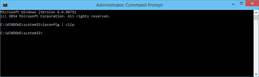copiar contenido del ipconfig en cmd