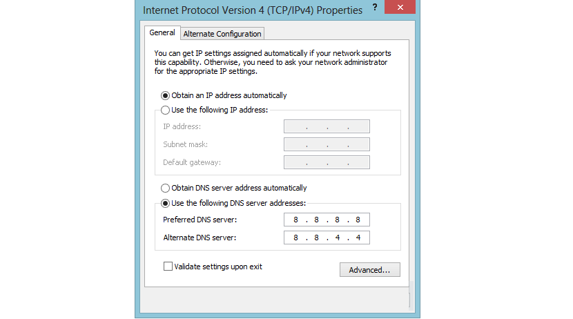 configurar el DNS en Windows