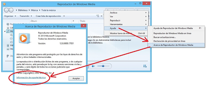 soporte en Windows Media Player