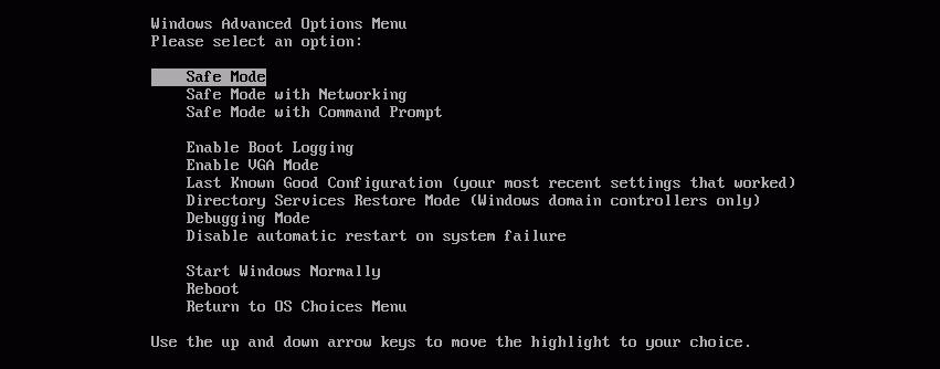 Modo Seguro en Windows con F8