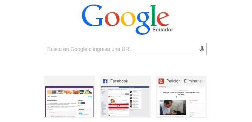 Google Chrome y sus miniaturas