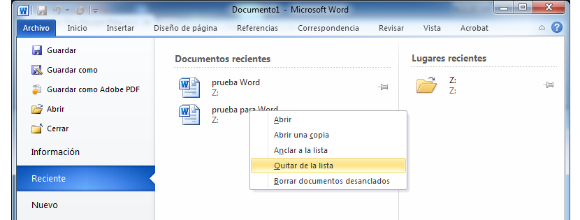 eliminar documentos recientes en Word 02