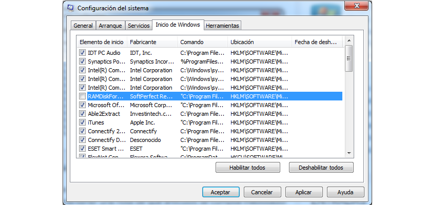 desactivar aplicaciones de Inicio en Windows