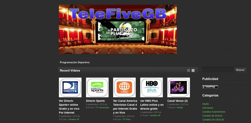 telefivegb, página para ver la tele online