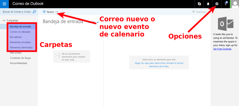 Interfaz de Outlook