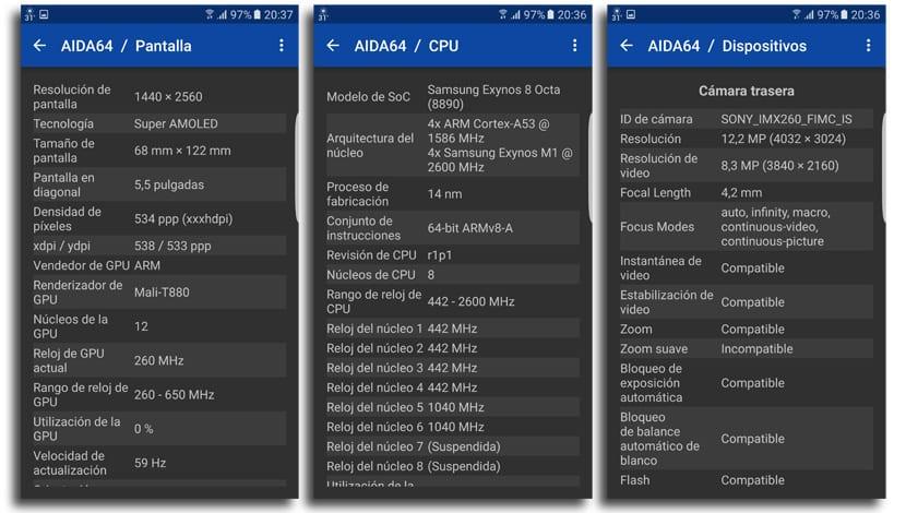 AIDA64 Galaxy S7 edge