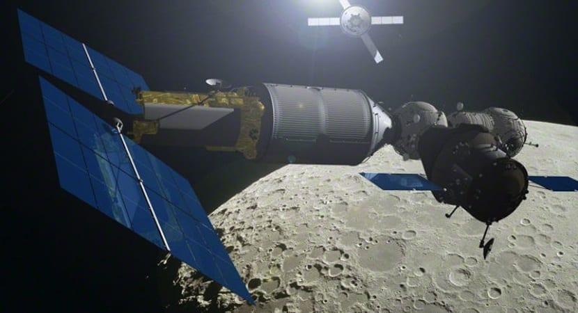 estación espacial en la Luna