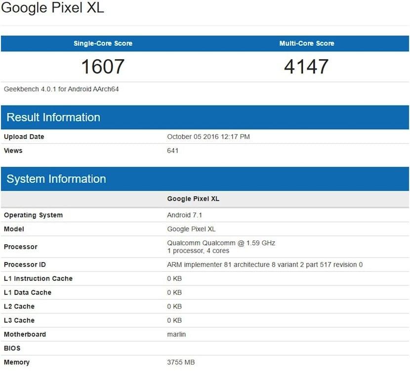benchmark del Google Pixel