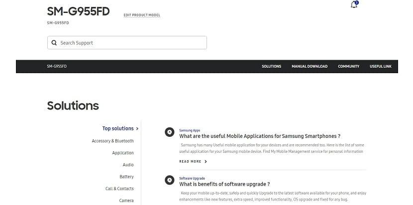 Página de soporte del Samsung Galaxy S8+