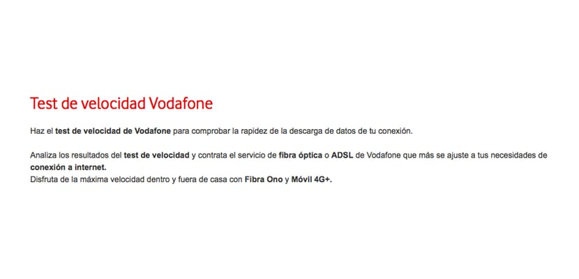 Test de velocidad de Vodafone