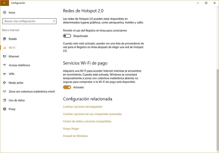 Configuración redes WiFi en Windows 10