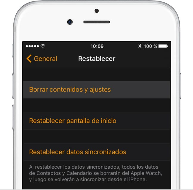 Apple Watch - Reseteo desde el iPhone