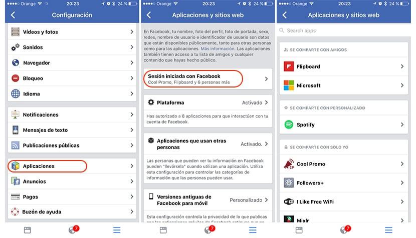 Elminar acceso a apliaciones y web en Facebook