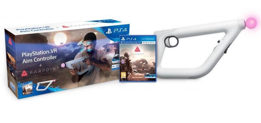 Juego de realidad virtual Farpoint con el mando / pistola PlayStation VR Aim Controller