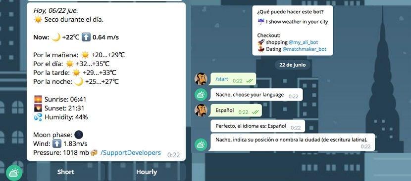 Información del tiempo en Telegram