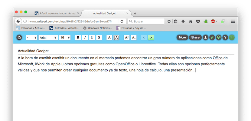 WriteURL, editor de textos online gratuito