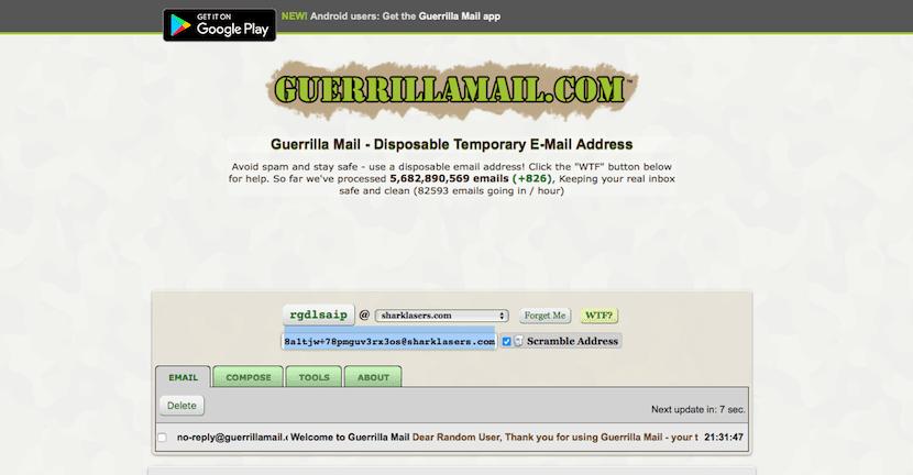 Guerrilla Mail cuenta de email temporal