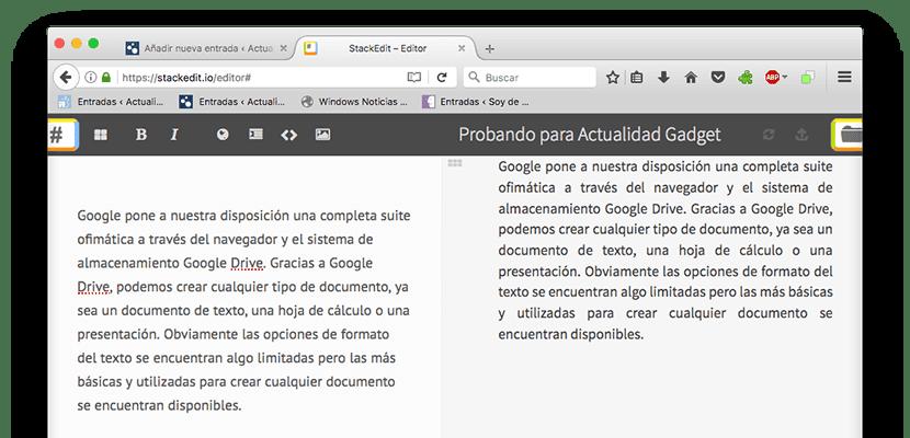 StackEditor, procesador de textos online gratuito