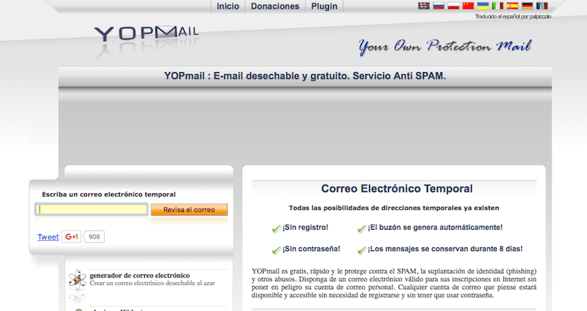 YOPMail cuenta de email temporal