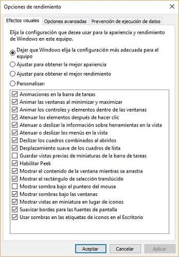 Imagen delas opciones de diseño de Windows 10