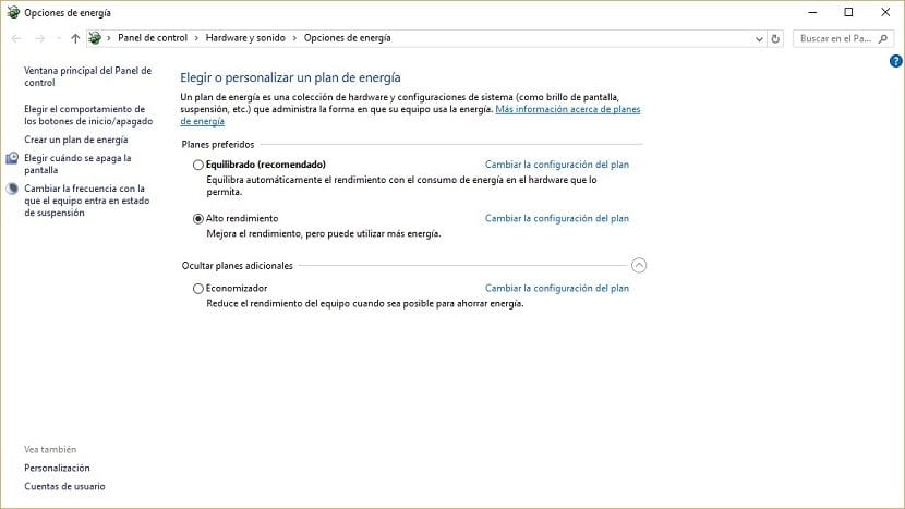 Imagen de las opciones de energía Windows 10