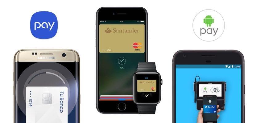 Imagen de los tres servicios de pagos con el móvil más populares