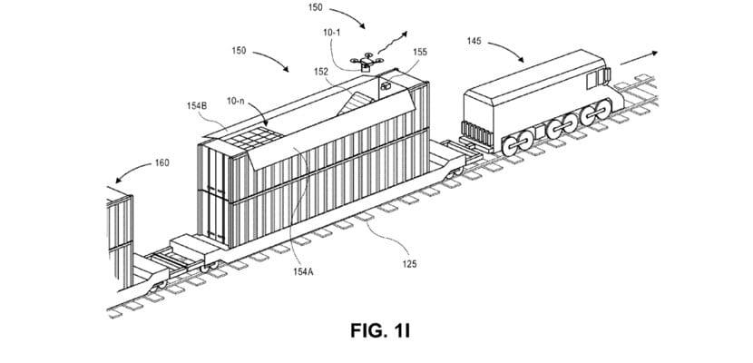 Tren de Amazon con módulo de mantenimiento de drones