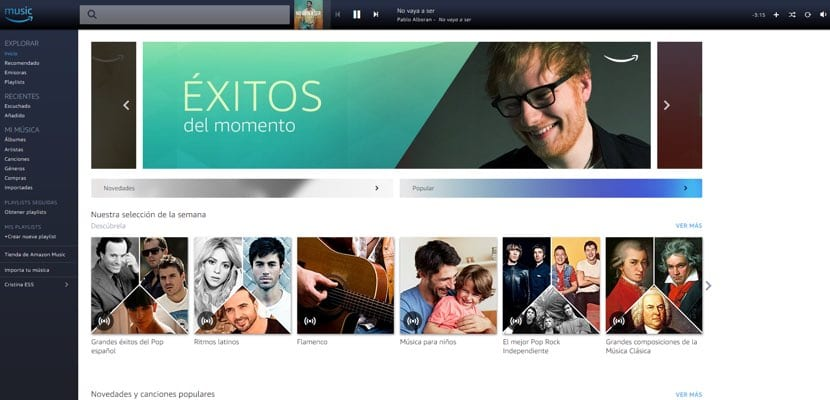 Amazon Music Unlimited en España versión web