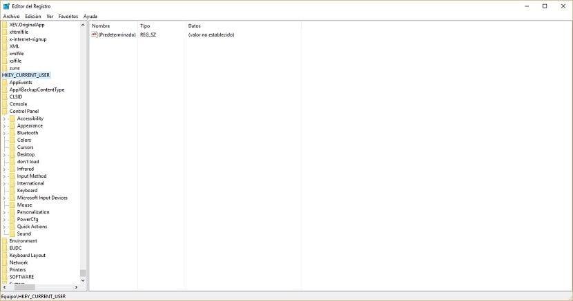 Imagen del Editor del registro de Windows 10