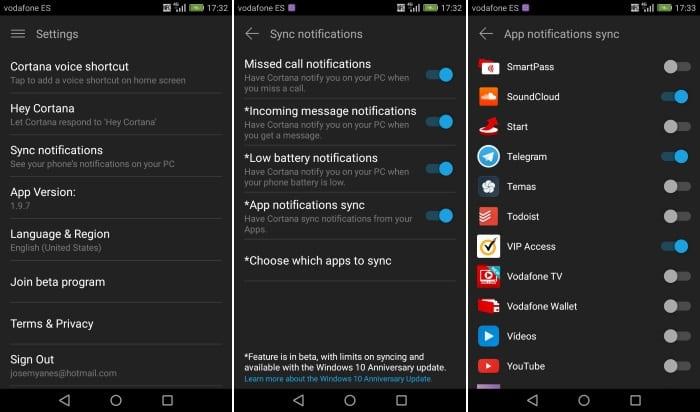 Imagen de la sincronización de notificaciones de Cortana