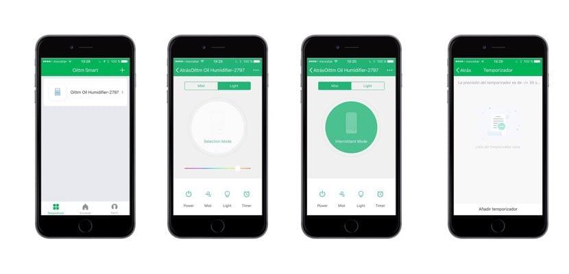 App móvil Oittm Smart Aroma Diffuser