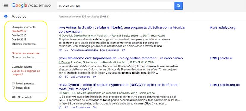 Filtrar información Google Académico