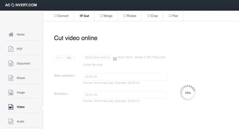 Recortar tus vídeos online con AConvert