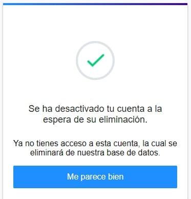 Imagen de la pantalla final de la eliminación del correo Yahoo