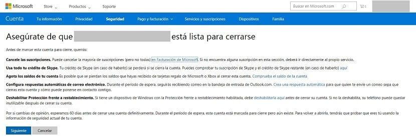 Imagen de las opciones para eliminar la cuenta de Hotmail
