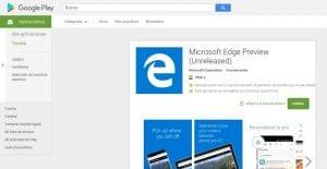 Imagen de Microsoft Edge en la Google Play