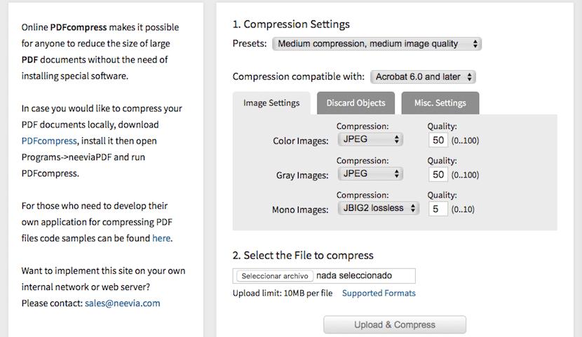 Comprime archivos PDF con PDFCompress sin instalar aplicaciones de terceros