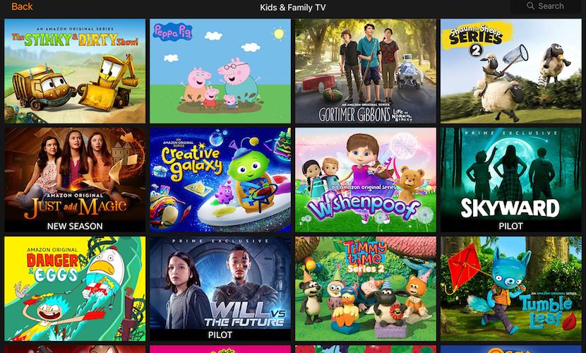 Amazon Prime también nos ofrece vídeos para niños