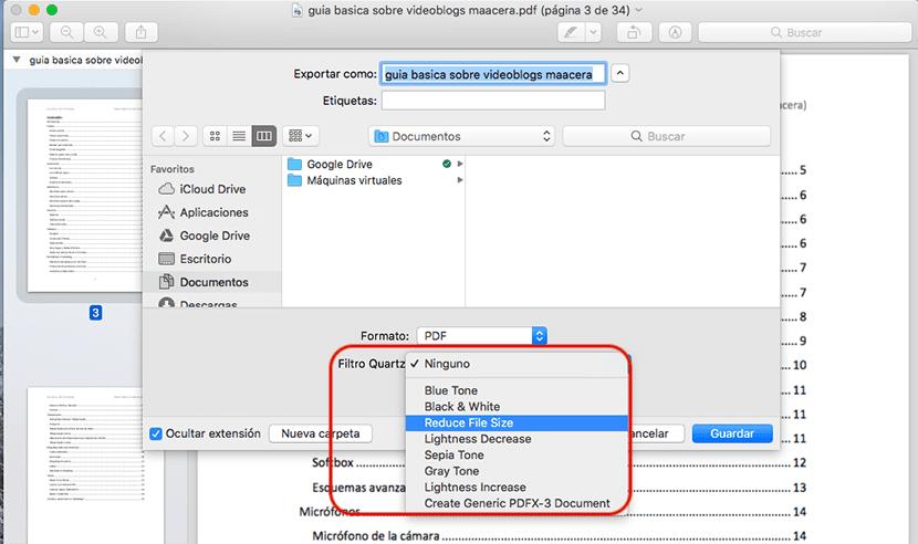Reducir tamaño PDF con Vista previa para macOS