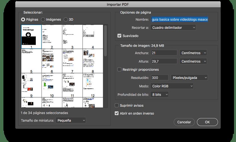 Reducir tamaño PDF con Photoshop