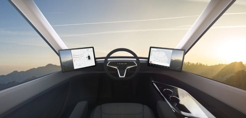 Interior de la cabina Tesla Semi