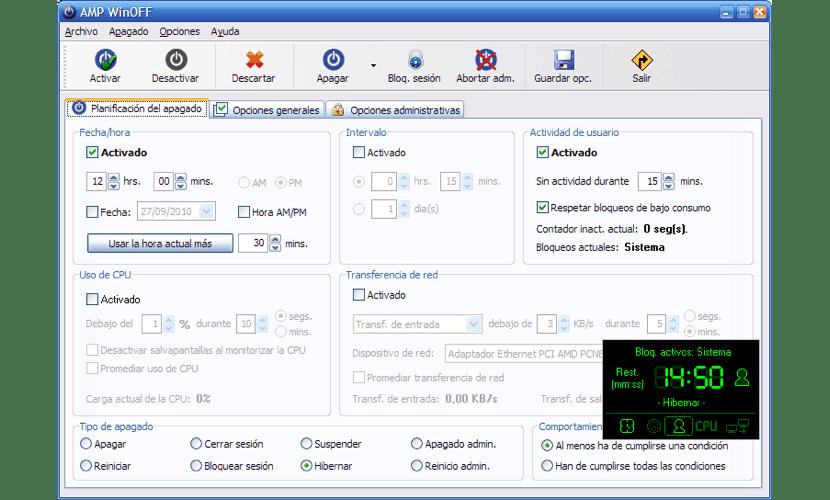 AMP WinOff programar apagado automático Windows